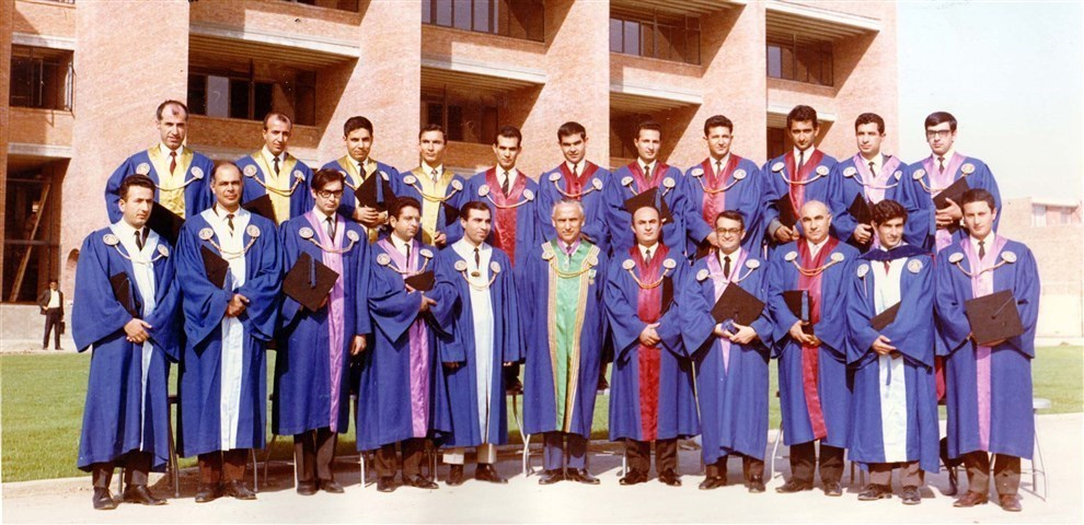 Dr. Mojtahedi (Sharif University founder) and some other Sharif faculties in 1966